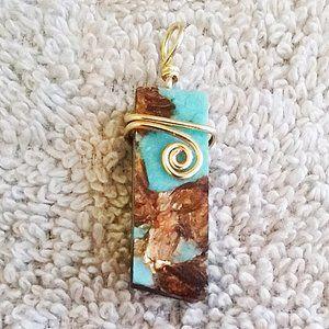 NEW!!! Small Boho Aqua + Copper Bornite Pendant